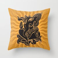 hindu Throw Pillows featuring Hindu God Ganesha by Smyrna