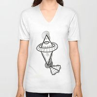 spaceship V-neck T-shirts featuring Diamond Spaceship by Guice Mann