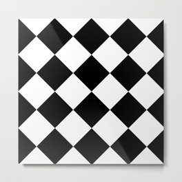 Retro American Diner Tile Black White Metal Print