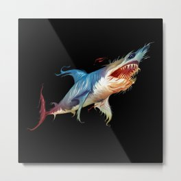 Psychedelic Colorful Shark - Animal - Nature - Water Metal Print