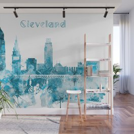 Cleveland Ohio Monochrome Blue Skyline Wall Mural