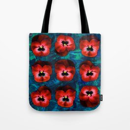 9 red on blue & green Tote Bag