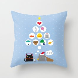 Santa Cat Throw Pillow