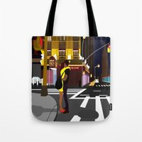 broadway Tote Bags featuring BROADWAY KISS by Alfred Fox Art & Photography