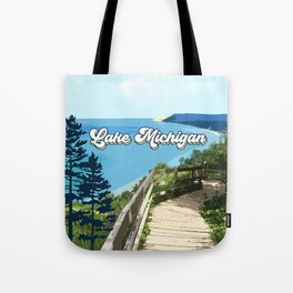 Lake Michigan Retro Tote Bag