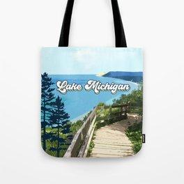 Lake Michigan Retro Tote Bag