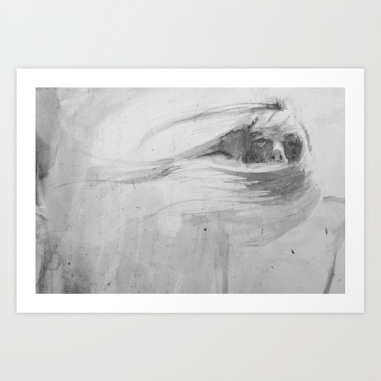 Wind in her hair Art Print