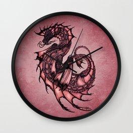"""Tsunami"" by Amber Marine ~ Sea Dragon (Ruby Version) ~ Graphite Illustration, (Copyright 2005) Wall Clock"