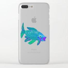 Blue Green Koi 4 Clear iPhone Case