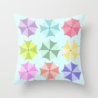 umbrella Throw Pillows featuring Umbrella by Melis Kalpakçıoğlu