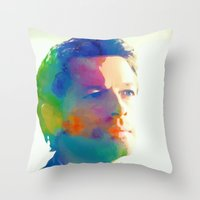 castiel Throw Pillows featuring Castiel  by mishainmydreams