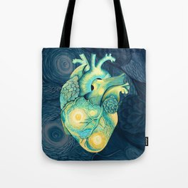 Anatomical Human Heart - Starry Night Inspired Tote Bag