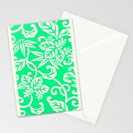 Green Japanese Floral Pattern Stationery Cards