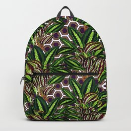 Palm on Polygon Pattern - White Purple Gold Backpack