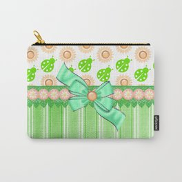 Green Ladybugs and Daisies Carry-All Pouch