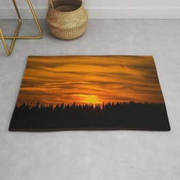 Cloudy Sunset With Forest Line - Scenic Landscape #decor #society6 #buyart Rug