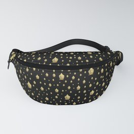 many small golden buddha heads designed artistically into a festive pattern Fanny Pack
