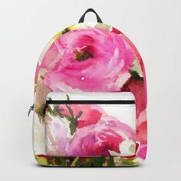 Pink Floral Love, Buttercups, garden flowers, floral artwork Backpack
