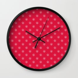 White on Crimson Red Snowflakes Wall Clock