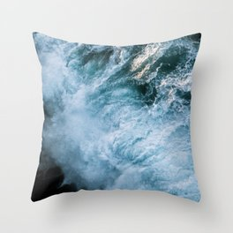Wave in Ireland during sunset - Oceanscape Throw Pillow