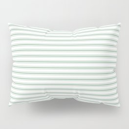 Mattress Ticking Narrow Horizontal Striped Pattern in Moss Green and White Pillow Sham