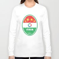 pirlo Long Sleeve T-shirts featuring World Cup Football 2/8 - Italia (Distressed) by Made of Thoughts