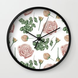 Flower Shop Roses Pattern White Wall Clock