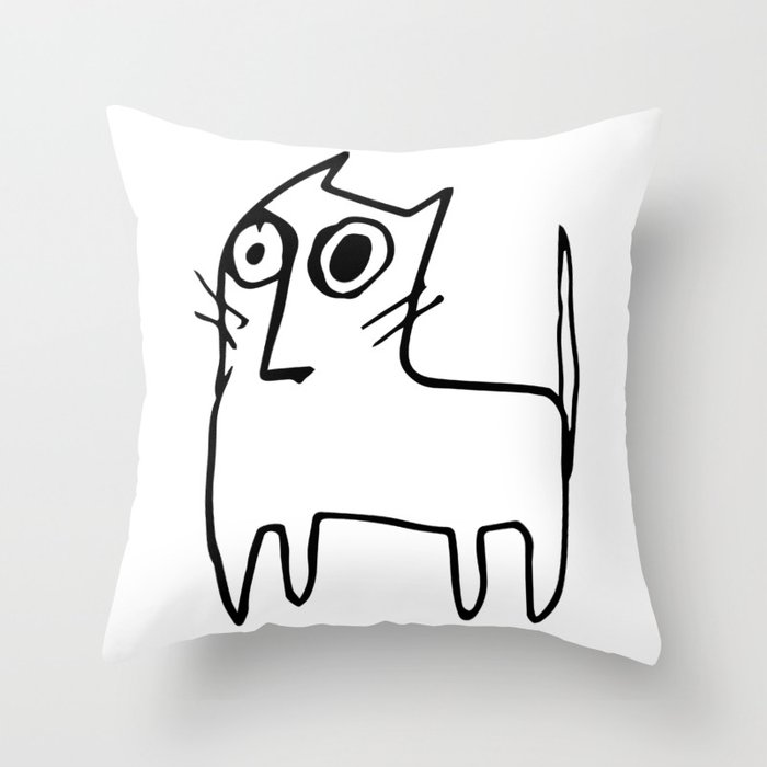 A mangy, miffed and slightly damaged cat Throw Pillow