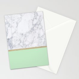 MINT MARBLE GOLD Stationery Cards