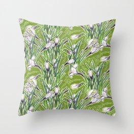 Crocuses Garden Flowers Botanical Floral Pattern Chartreuse  Throw Pillow