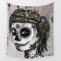 dia de los muertos Wall Tapestries featuring Dia de los Muertos by TrueNoire