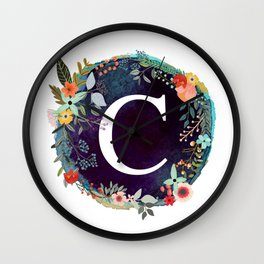 Personalized Monogram Initial Letter C Floral Wreath Artwork Wall Clock