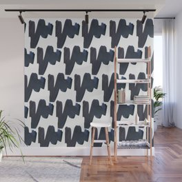 Navy blue black abstract watercolor zigzag brushstrokes pattern Wall Mural
