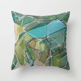 Fracturing Emeralds Throw Pillow
