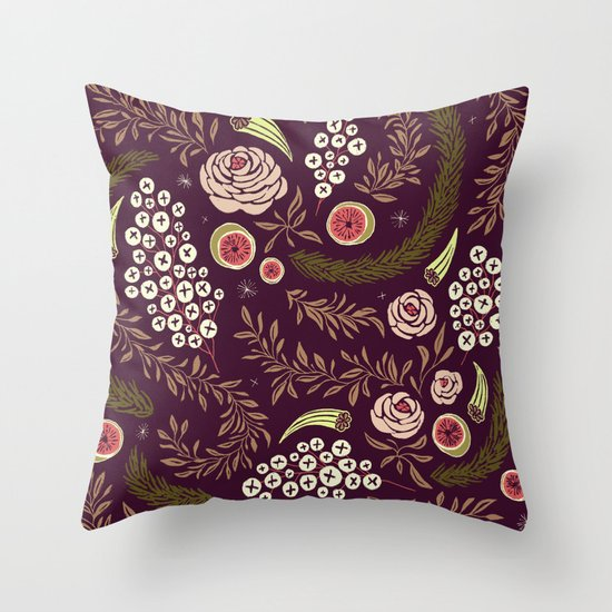 Autumn Walk Floral Throw Pillow