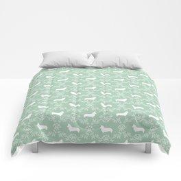 Corgi silhouette florals dog pattern mint and white minimal corgis welsh corgi pattern Comforters