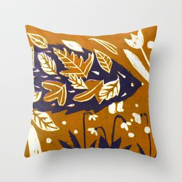 Hedgehog in Autumn Woods - Golden Orange Palette Throw Pillow
