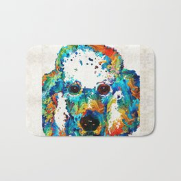 Colorful Poodle Dog Art by Sharon Cummings Bath Mat