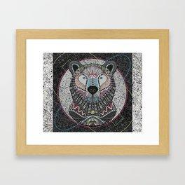 Neon Tribal Bear Framed Art Print