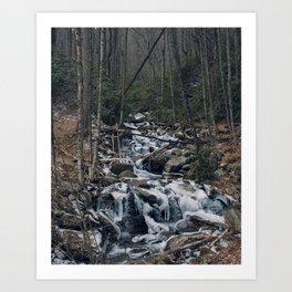 Frozen Stream From Mountain High Art Print
