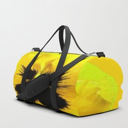 LARGE YELLOW  PANSY ON GOLDEN YELLOW COLOR Duffle Bag