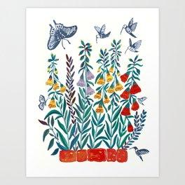 Dahilas with Birds Art Print