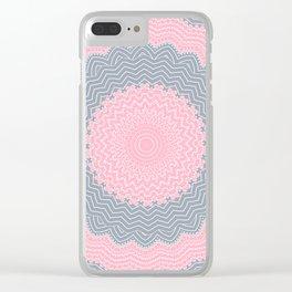 Shabby Chic Pink Grey Mandala Clear iPhone Case