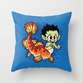 Crimson Pond Dragon Throw Pillow