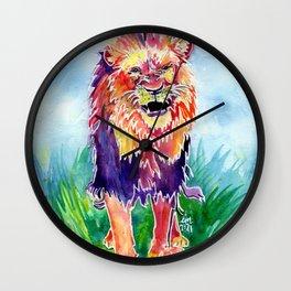 Fierce Rainbow Lion  Wall Clock
