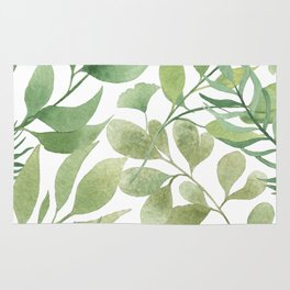 Green Tropical Leaves Rug