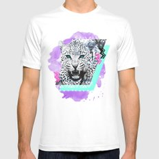 Fierce Leopard White MEDIUM Mens Fitted Tee