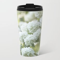 White Hydrangea at beautiful backlight- Flowers Floral Metal Travel Mug