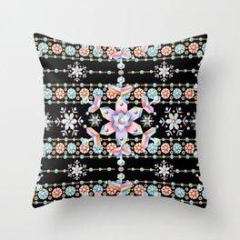 Folkloric Snowflakes Throw Pillow