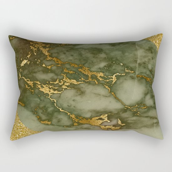 Green Marble with Gold and Glitter I Rectangular Pillow